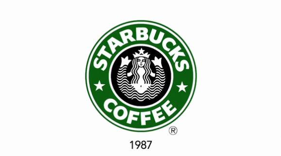 1987年に変更されたスターバックスの新しいロゴ